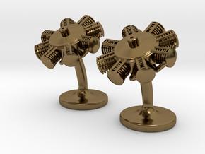 Radial Engine Cufflinks in Polished Bronze