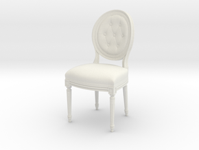 1:12 Louis XVI Side Chair in White Natural Versatile Plastic