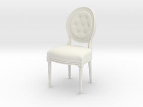 Louis XVI Side Chair in White Natural Versatile Plastic: 1:24