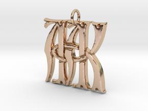 Monogram Initials AAK Pendant  in 14k Rose Gold
