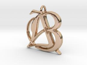 Monogram Initials AB Pendant  in 14k Rose Gold
