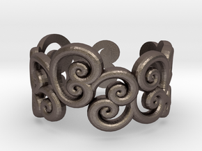 Ring Scroll in Polished Bronzed Silver Steel