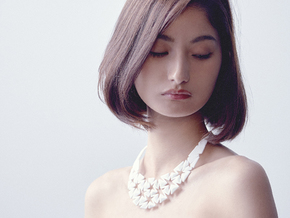 Auxetic Neckless in White Natural Versatile Plastic