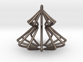 Christmas Pine Tree in Polished Bronzed Silver Steel