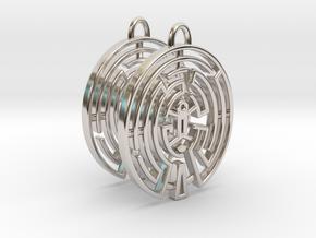 WestWorld Maze Earrings in Rhodium Plated Brass