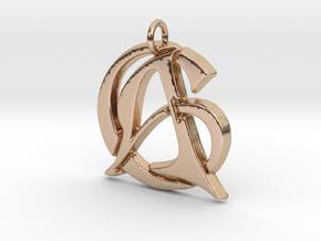 Monogram Initials AC Pendant  in 14k Rose Gold