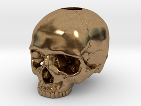 30mm 1.18in  Keychain Skull (8mm/0.31in hole) in Natural Brass