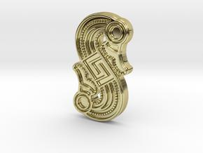 Alemannic S-Fibula Frankfurt, casting, riffled in 18k Gold Plated Brass
