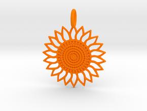 Sunflower Pendant in Orange Processed Versatile Plastic