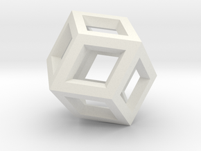 Borromean rings (wireframe, Klein model) in White Natural Versatile Plastic