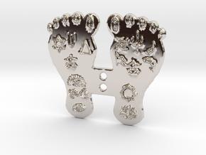 Goddess Mahalakshmi's Paduka Feet Frame Plaque in Platinum