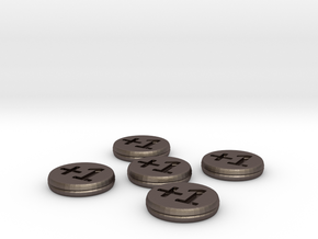 Plus/Minus Counters (Batch of 5) in Polished Bronzed Silver Steel