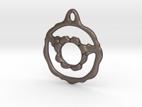Flowery Hoop Pendant in Polished Bronzed Silver Steel