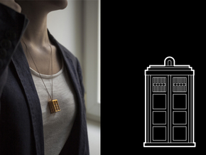 Dr. WHO - TARDIS Pendant in Polished Gold Steel