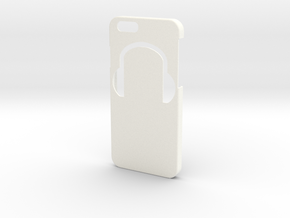 Iphone 6 Case - Name on the back - Headphones in White Processed Versatile Plastic