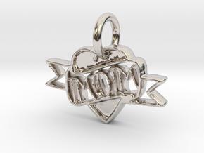 Mom Pendant in Rhodium Plated Brass