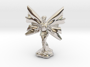 Fairy with large wings, in flight 30mm scale in Platinum