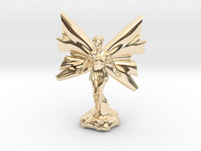 Fairy with large wings, in flight 30mm scale in 14k Gold Plated Brass