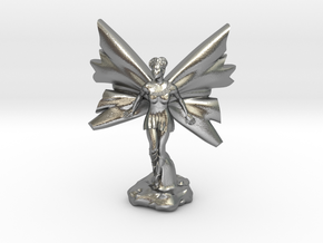 Fairy with large wings, in flight 30mm scale in Natural Silver