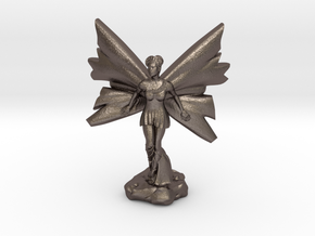 Fairy with large wings, in flight 30mm scale in Polished Bronzed Silver Steel