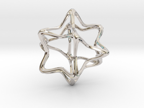 Cube Octahedron Curvy Pinch - 5cm in Rhodium Plated Brass