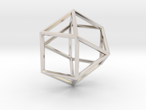 Cube Octohedron - 5cm in Rhodium Plated Brass