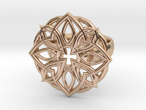 Mandala Petal Ring - Size 5 in 14k Rose Gold Plated