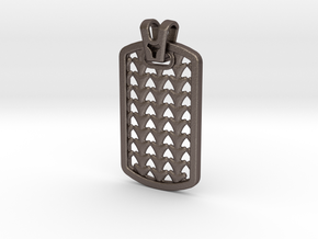 HOUNDS TOOTH DOG TAG 2 in Polished Bronzed Silver Steel