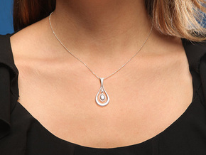 Droplet Pendant in Natural Silver