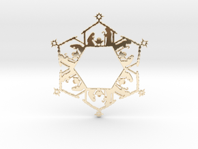 Nativity Snowflake Ornament in 14k Gold Plated Brass
