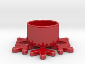 Snowflake Theelight Holder in Gloss Red Porcelain