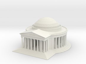 Jefferson Memorial Model  Small in White Natural Versatile Plastic