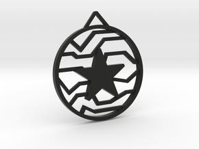 Winter Soldier Star Pendant (Medium) in Black Natural Versatile Plastic