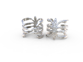 Ring Recluse - Detailed adjustable in Polished Silver: 8.5 / 58