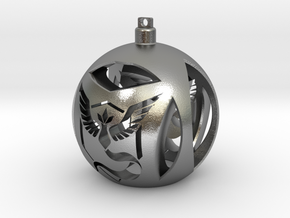 Team Mystic Christmas Ornament Ball in Natural Silver