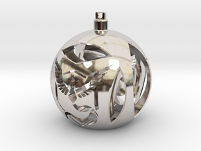 Team Mystic Christmas Ornament Ball in Rhodium Plated Brass