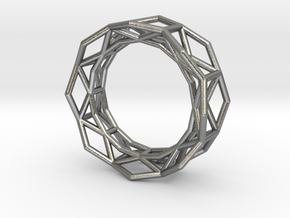 Hexagon - S in Raw Silver