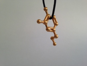 Dopamine Molecule Necklace Keychain in Matte Gold Steel