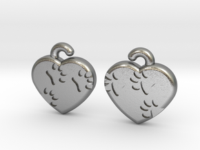 Pawprints On My Heart Earrings in Natural Silver