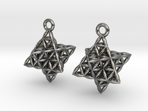 Flower Of Life Star Tetrahedron Earrings in Polished Silver