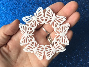 Monarch Butterfly Snowflake Ornament in White Natural Versatile Plastic