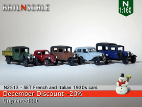 SET French and Italian 1930s cars (N 1:160) in Frosted Ultra Detail