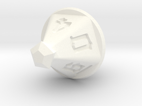 Jewel 10 Sided Die in White Processed Versatile Plastic