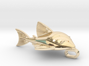 Royal Pleco necklacs Charm in 14k Gold Plated Brass: Large