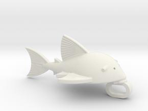Medium Royal Pleco Key Chain Charm in White Natural Versatile Plastic: Medium