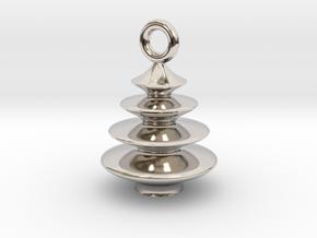 Xmas Tree Pendant 2cm tall in Rhodium Plated Brass