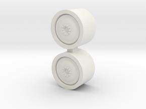 1/64 18.4-26 Gleaner Wheels - 1 Pair in White Natural Versatile Plastic