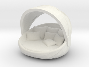 "Chaise-lounge - 1/2"" Model in White Natural Versatile Plastic: 1:24"