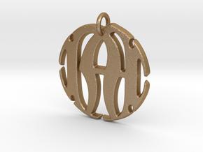 Monogram Initials NA Pendant in Matte Gold Steel
