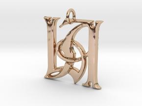 Monogram Initials LA Pendant  in 14k Rose Gold